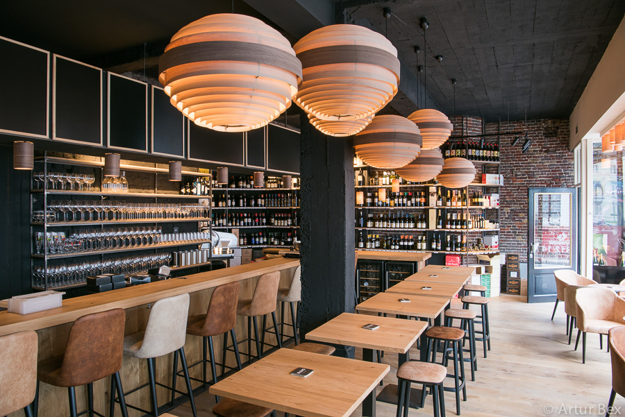 Sphere lamps in a winebar blend