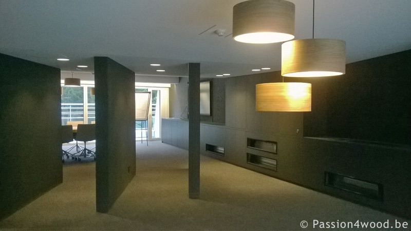 Drum lamps in walnut wood in meeting room