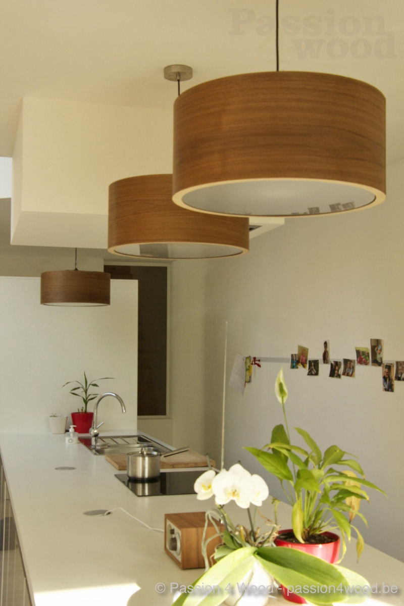 Interieur keuken - drum pendant lamp in walnut