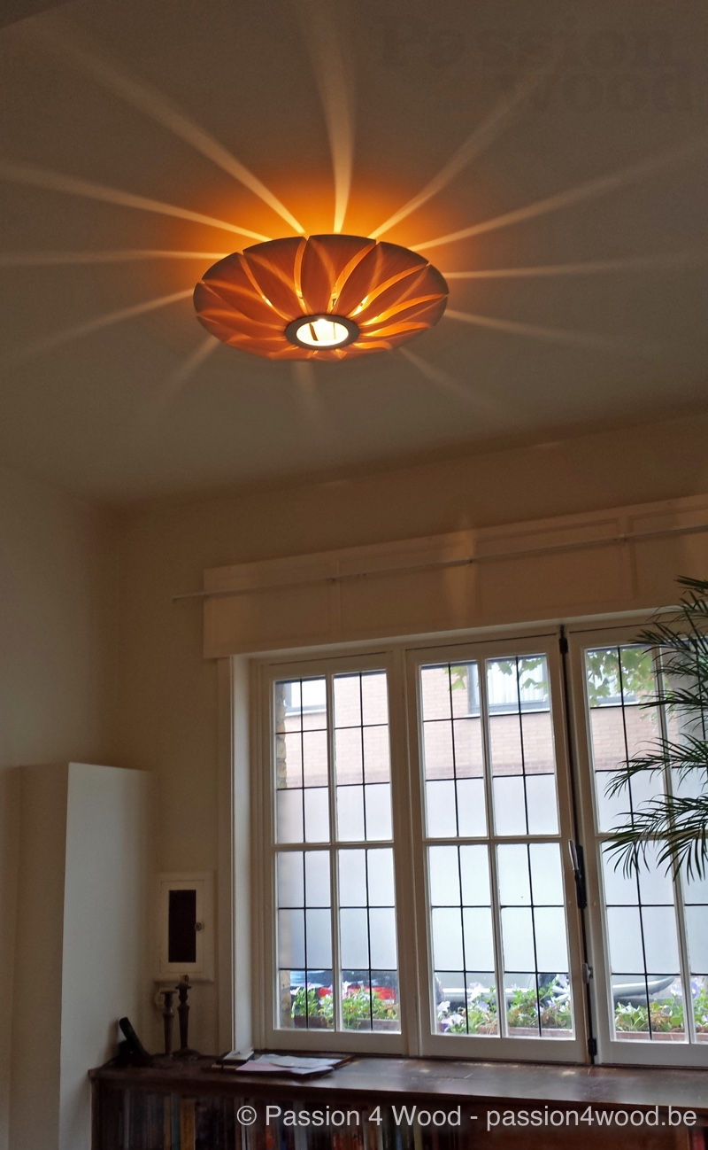 Lotus lamp als plafond lamp in rozen hout in living