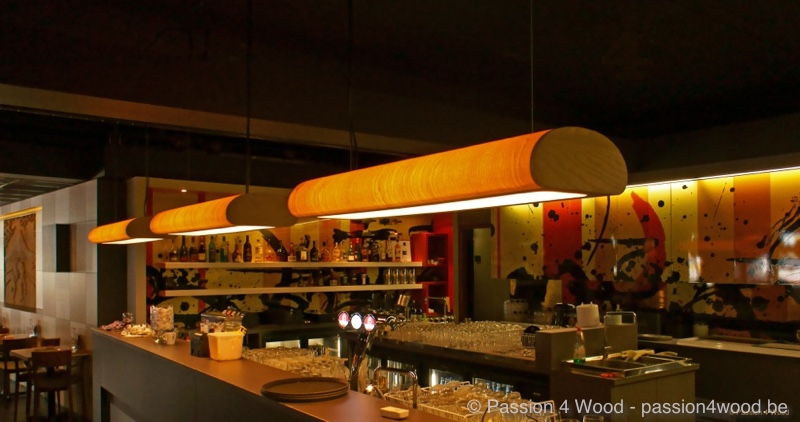Shabu shabu Rotterdam - bar - tube lights in ash wood