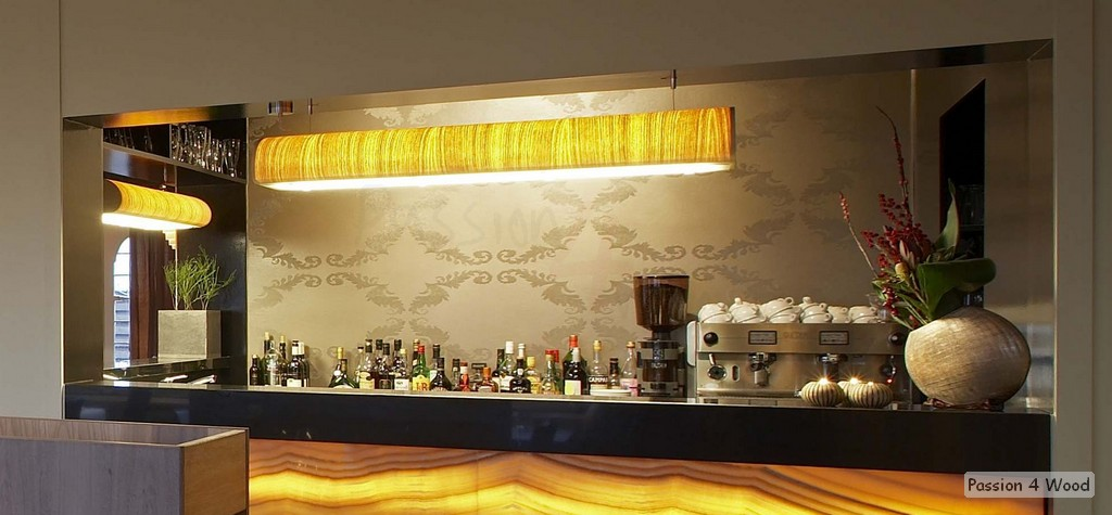 Bistro l' armagnac - Passion 4 Wood - Pendal lighting in wood veneer in bar - TUBE3 - 2