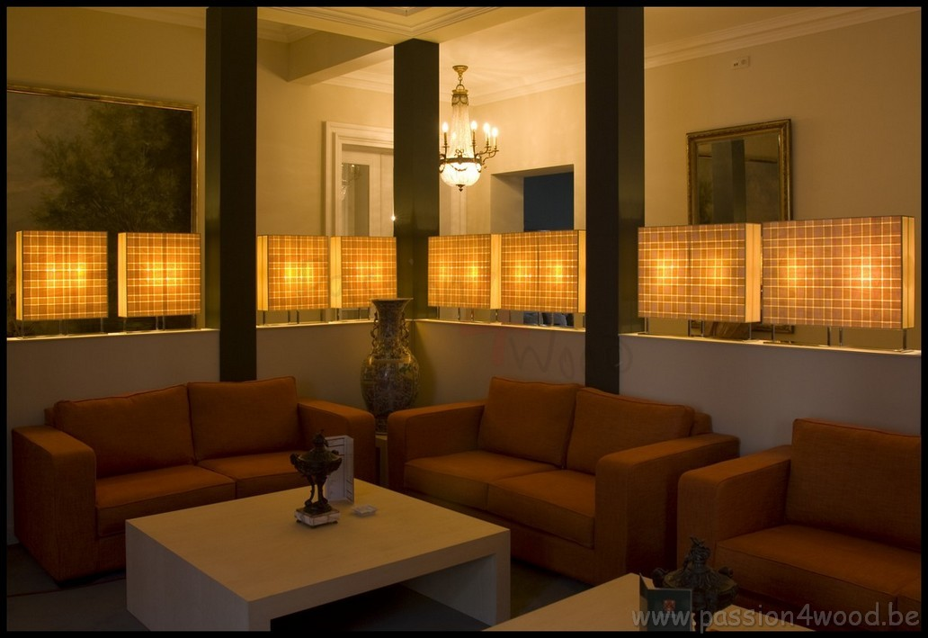Passion 4 Wood - Wooden design lighting in hotel Maison Merode - lounge corner with soft tone lights in tulip veneer - 06