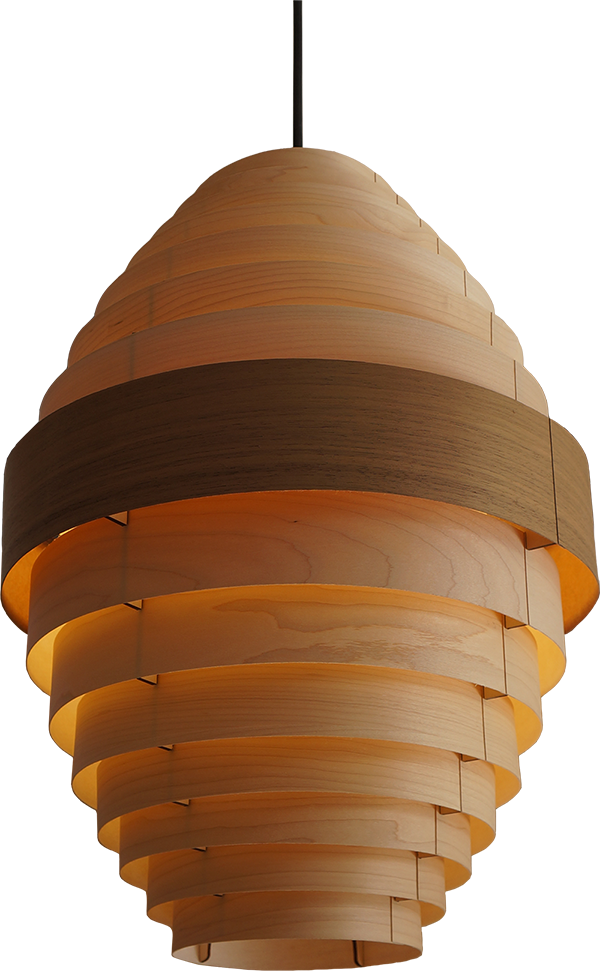 Egg small pendant lamp in maple wood