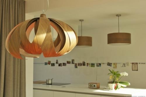 Tulip big moderne houten hang plafond verlichting for Wandlamp boven eettafel