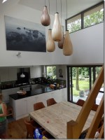 lot de 5 lampe suspension en bois