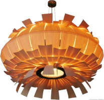 Benjamas pendant light in tulip wood - flower shape