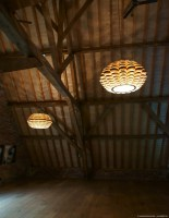 Glow big pendant lamp in tulipwood and zebrano