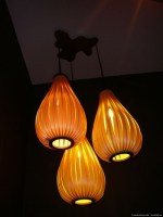 Set of 3 design lamps in tulipwood
