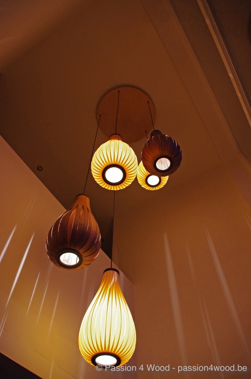 Rain lights in hall - toulip and walnut wood