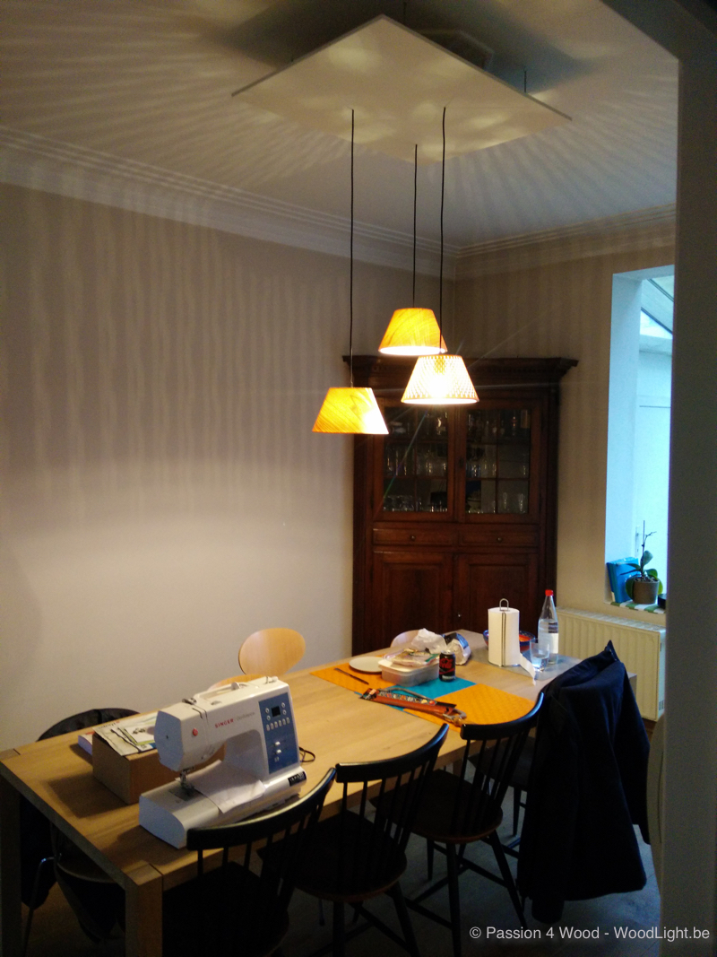 Small cone shaped lamps above dining table