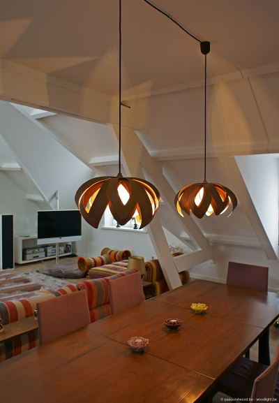 tulip moderne houten hang plafond verlichting