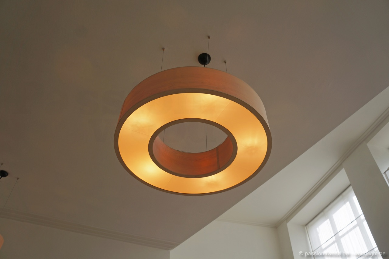 passion lighting. Big Round Pendant Lamp In The Shape Of A Donut, Made Maple Wood Veneer Passion Lighting