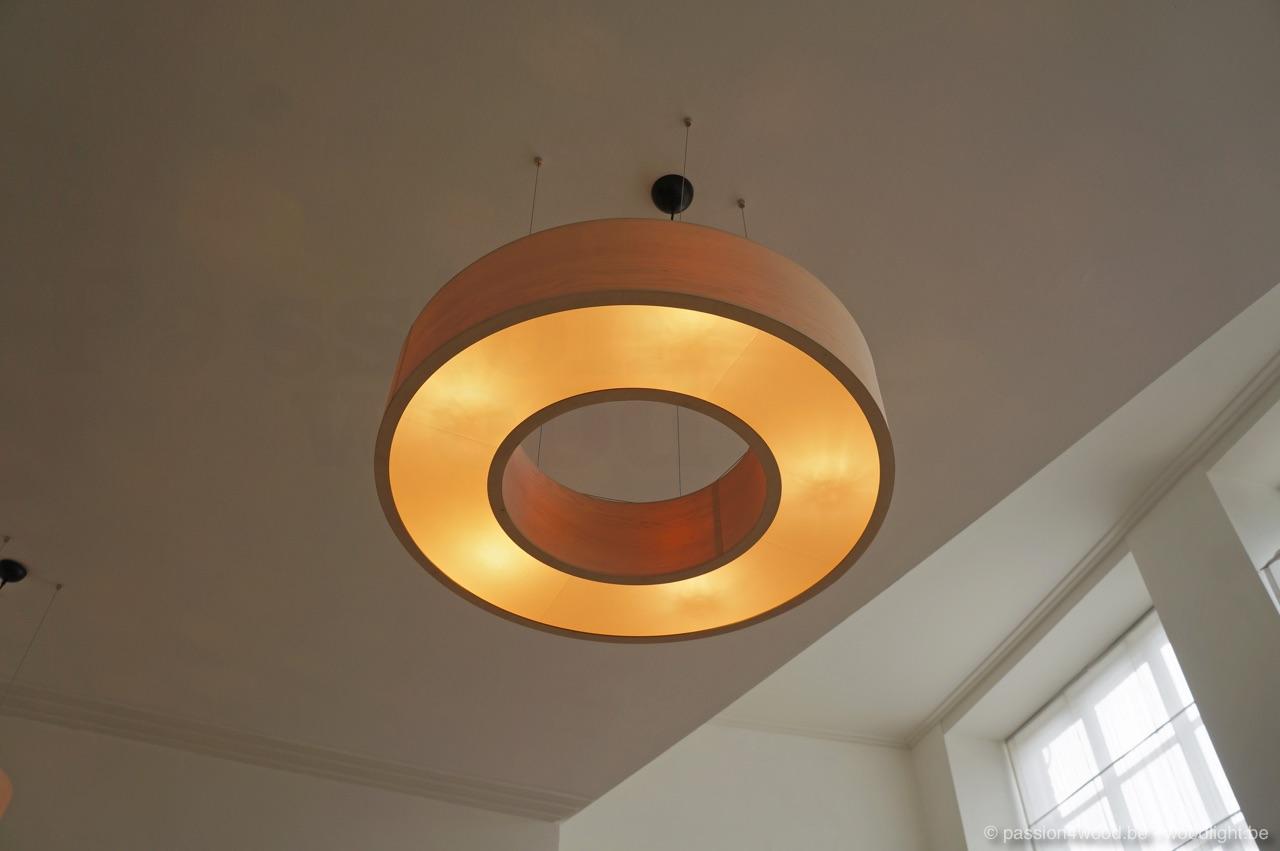 wood veneer lighting. Big Round Pendant Lamp In The Shape Of A Donut, Made Maple Wood Veneer Lighting N