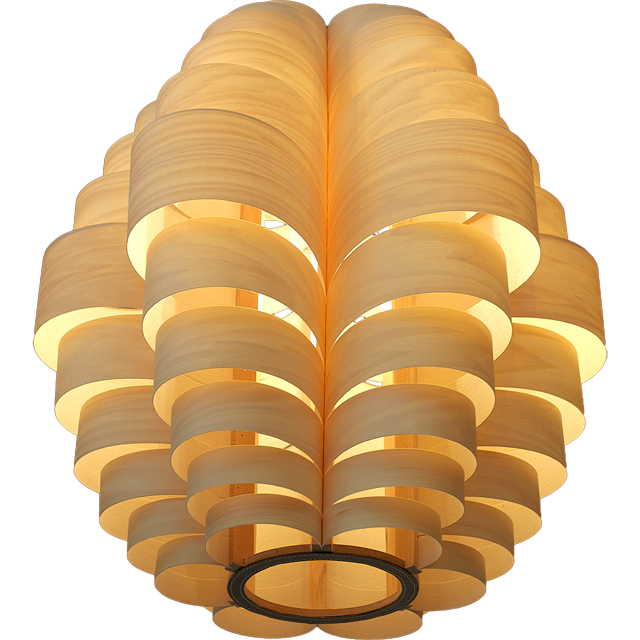 Glow hanglamp - retro model in hout - hier afgebeeld in tulipwood