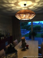 Glow big pendant lamp in tulipwood and zebrano - lampe suspendues design en bois noyer